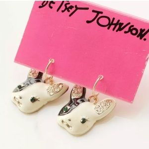 NWT•Betsey Johnson French Bulldog wire earrings